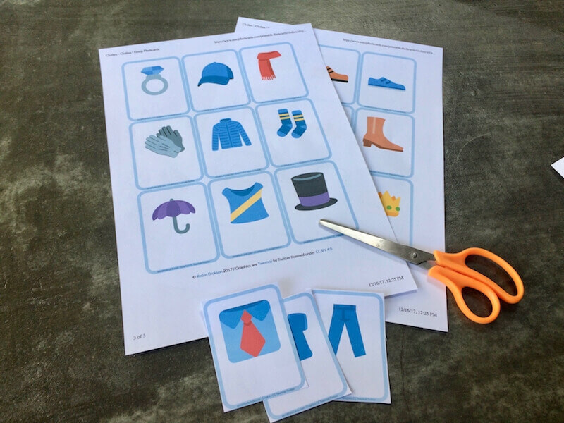 cutting out and making flashcards
