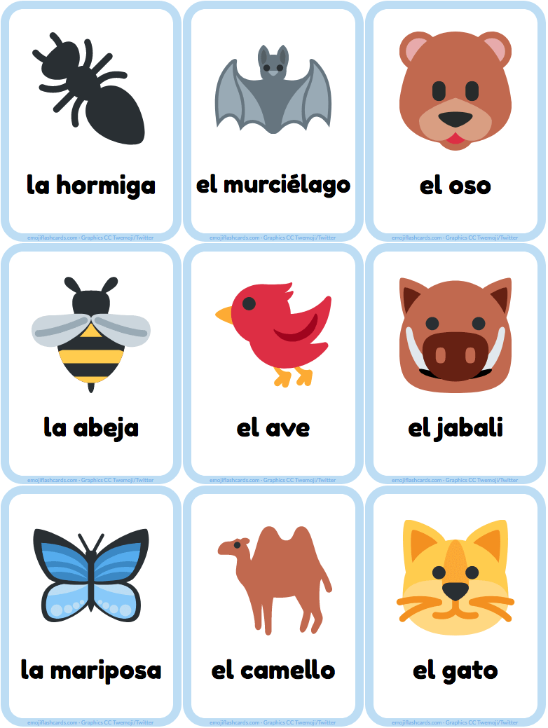 Spanish animals emoji flashcards